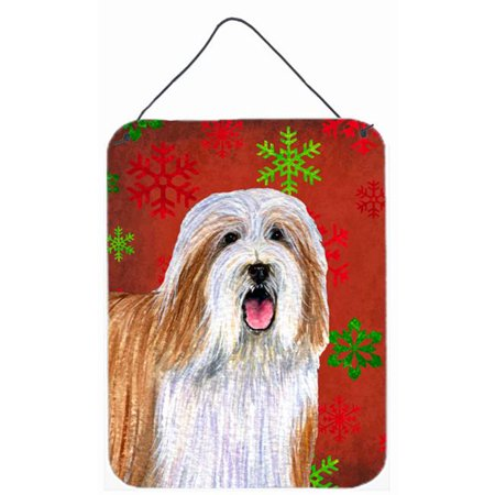 Carolines Treasures LH9330DS1216 12 x 16 in. Bearded Collie Red Snowflakes Holiday Christmas Aluminum Metal Wall & Door Hanging Prints - image 1 of 1