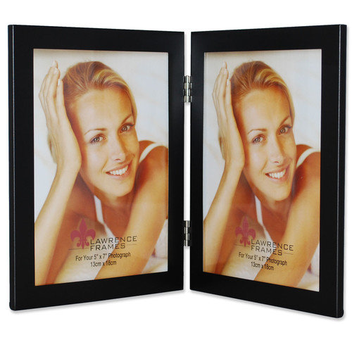 Lawrence Frames 230052 Lawrence Frames Black 5x7 Hinged Double Metal Picture Frame