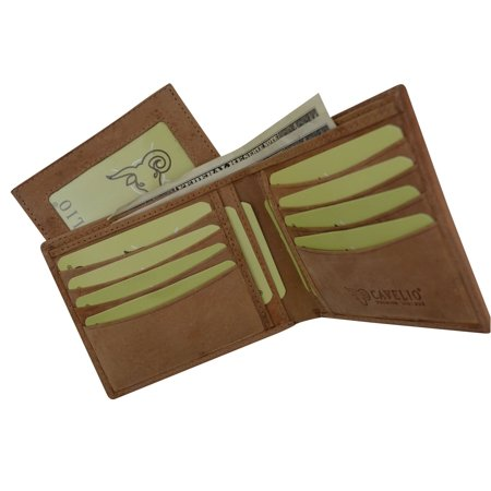 cavelio premium leather hunter vintage style bifold credit card holder wallet with removable id card holder - Bifold Card Holder