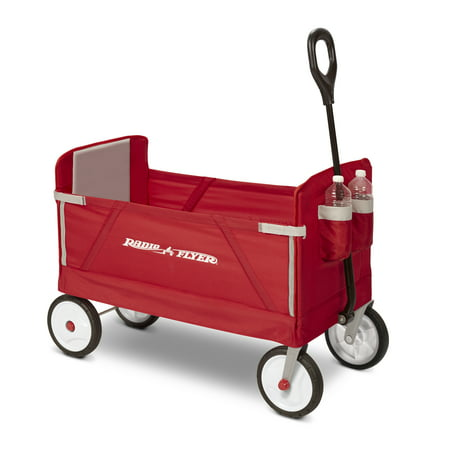 Radio Flyer, 3-in-1 EZ Fold Wagon, Padded Seat with Seat Belts, - Red Wagon Toy