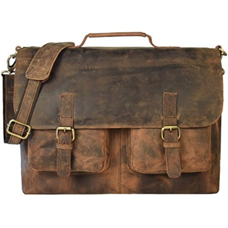 16 inch vintage handmade leather messenger bag for laptop briefcase best computer satchel school distressed xmas (Best Deals On Computer Parts)