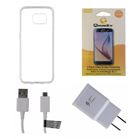 OEM Cable/Adapter + Screen Protector KIT w/ Clear Insignia Soft Case for S6