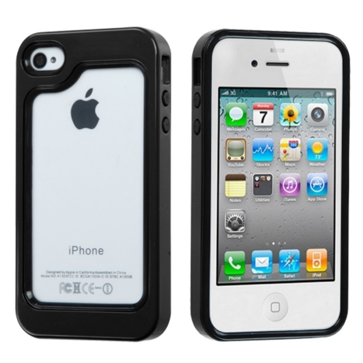Insten Black/Solid Black MyBumper Phone Protective Case Cover For APPLE iPhone 4S/4