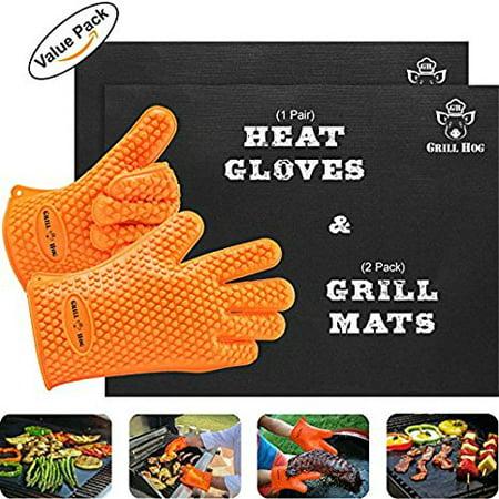GRILL HOG BBQ Gift Set Non-Stick Silicone Gloves &Teflon Mats