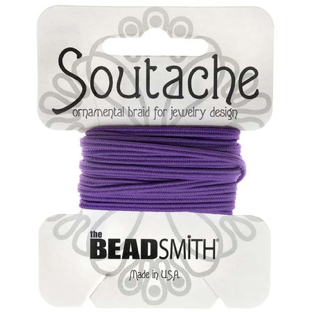 Soutache Cord - BeadSmith Soutache Braided Cord 3mm Wide - Dark Lilac Purple (3 Yds)