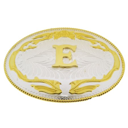 Big Initial Letter Alphabet E Belt Buckle Western Cowboy Rodeo Gold Silver Metal (Peace Symbol Belt Buckle)