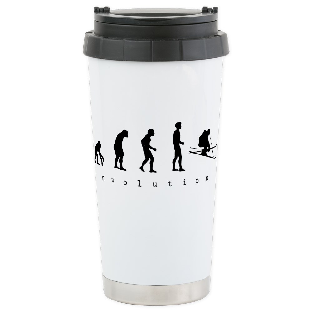 CafePress Skiing Evolution Stainless Steel Travel Mug Stainless Steel Travel Mug, Insulated 16 oz. Coffee Tumbler by