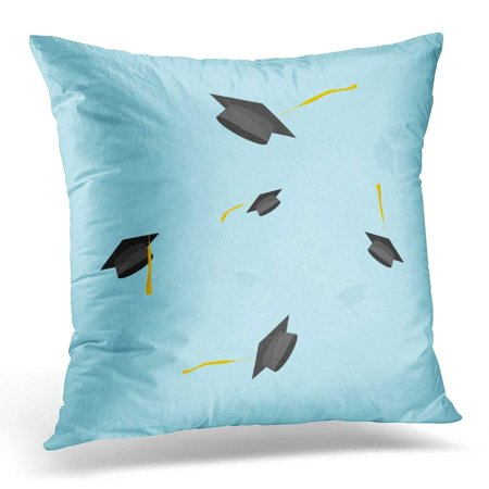 - CMFUN Graduation Hats in The Air Graduate Caps Trowing Up Sky Flying Academic Flat Cartoon Style Design Blue Pillow Case Pillow Cover 18x18 inch