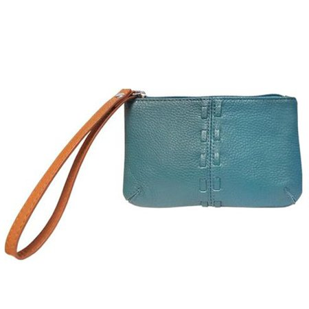 - SILVERFEVER Cowhide Leather Wristlet Purse Wallet Whipstitched Detail (Turquoise)