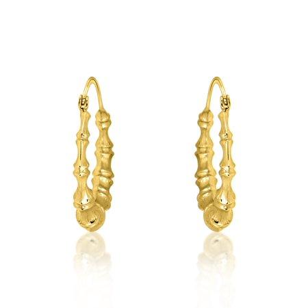 14k Yellow Gold Bamboo Hoop Earrings