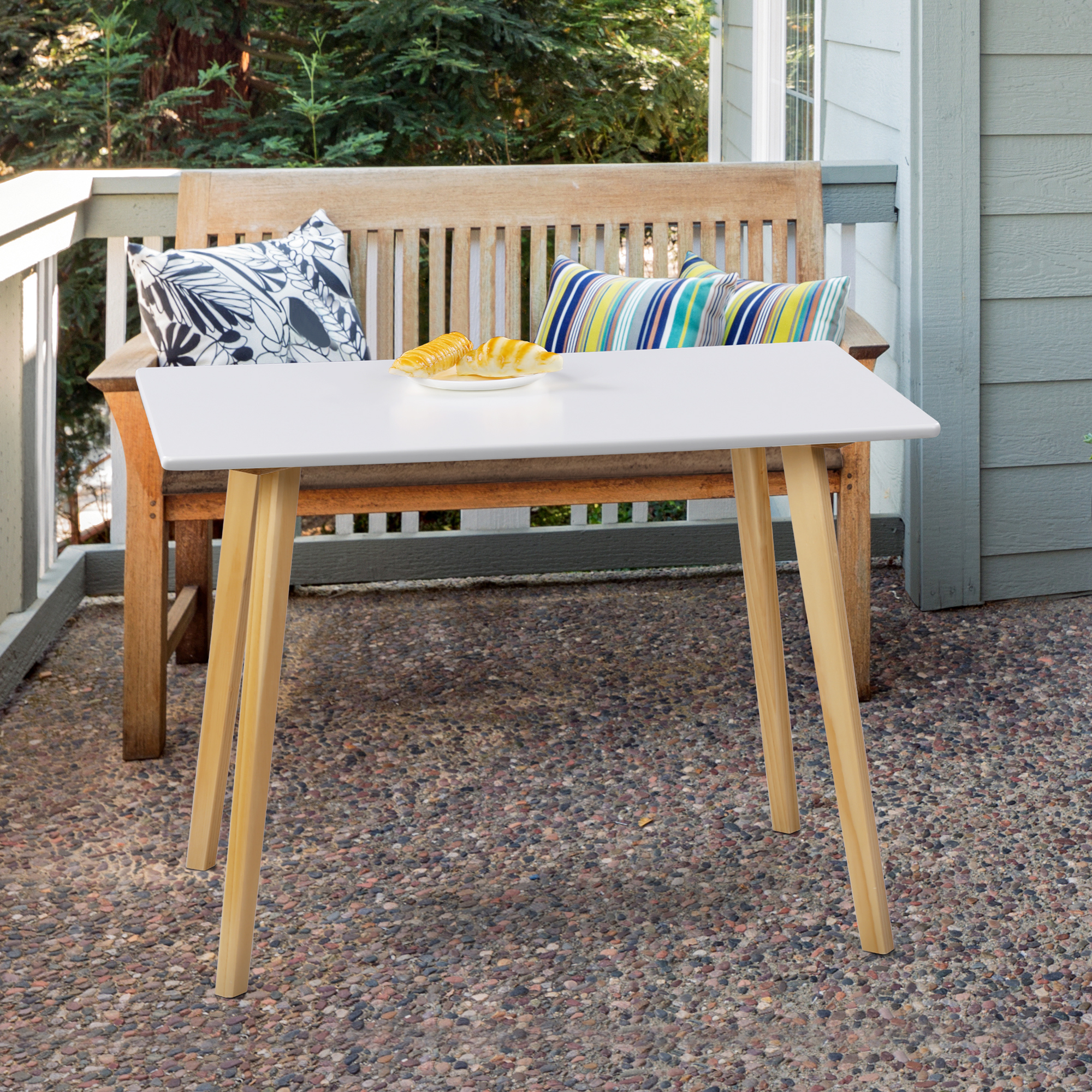GranRest White Dining Table with Wood Legs