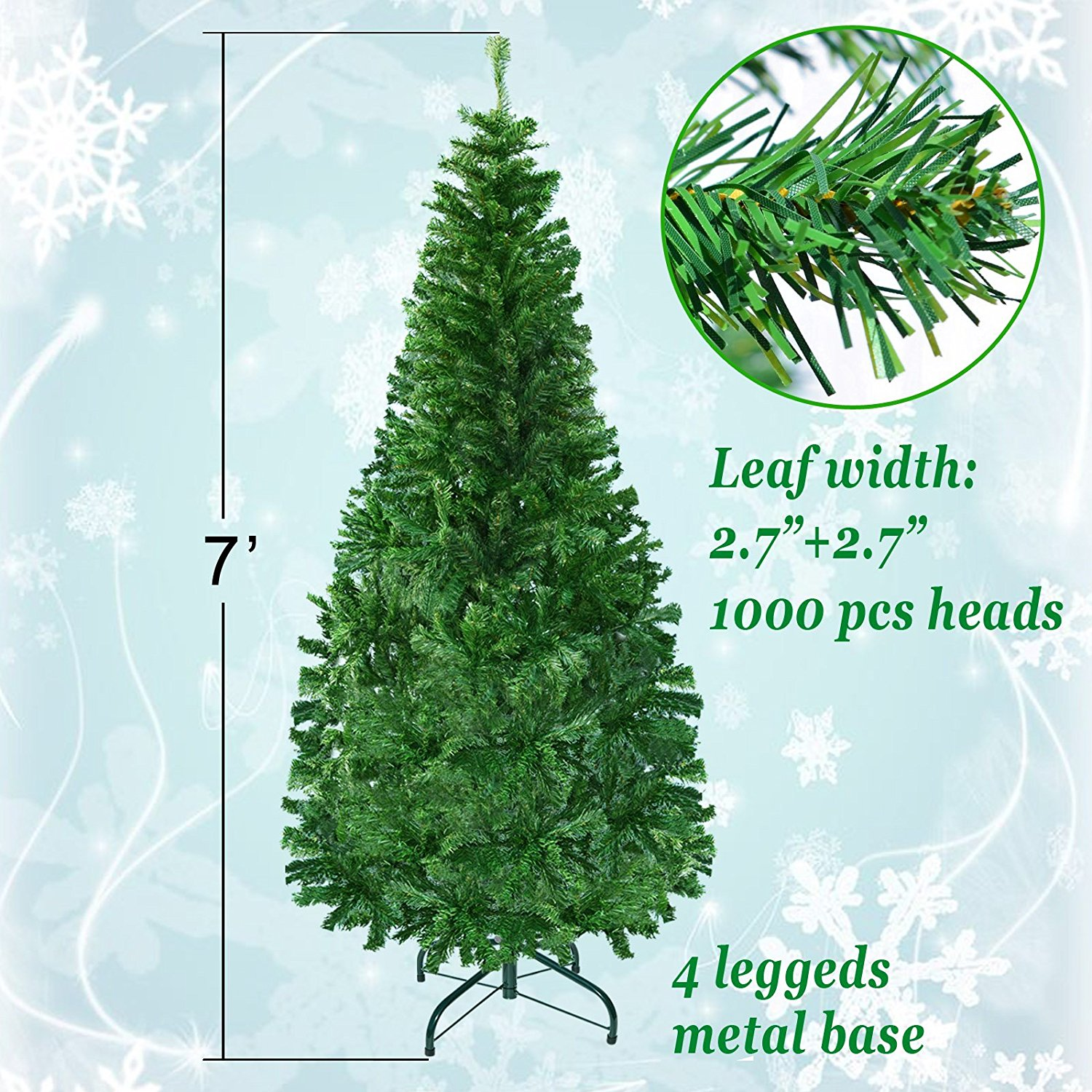 7ft Artificial Christmas Tree W/ Steel Base--Green