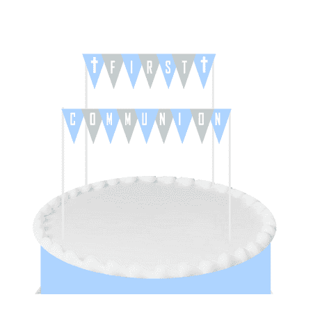 Blue First Communion Cake Decoration Bunting Banner](Communion Banners)