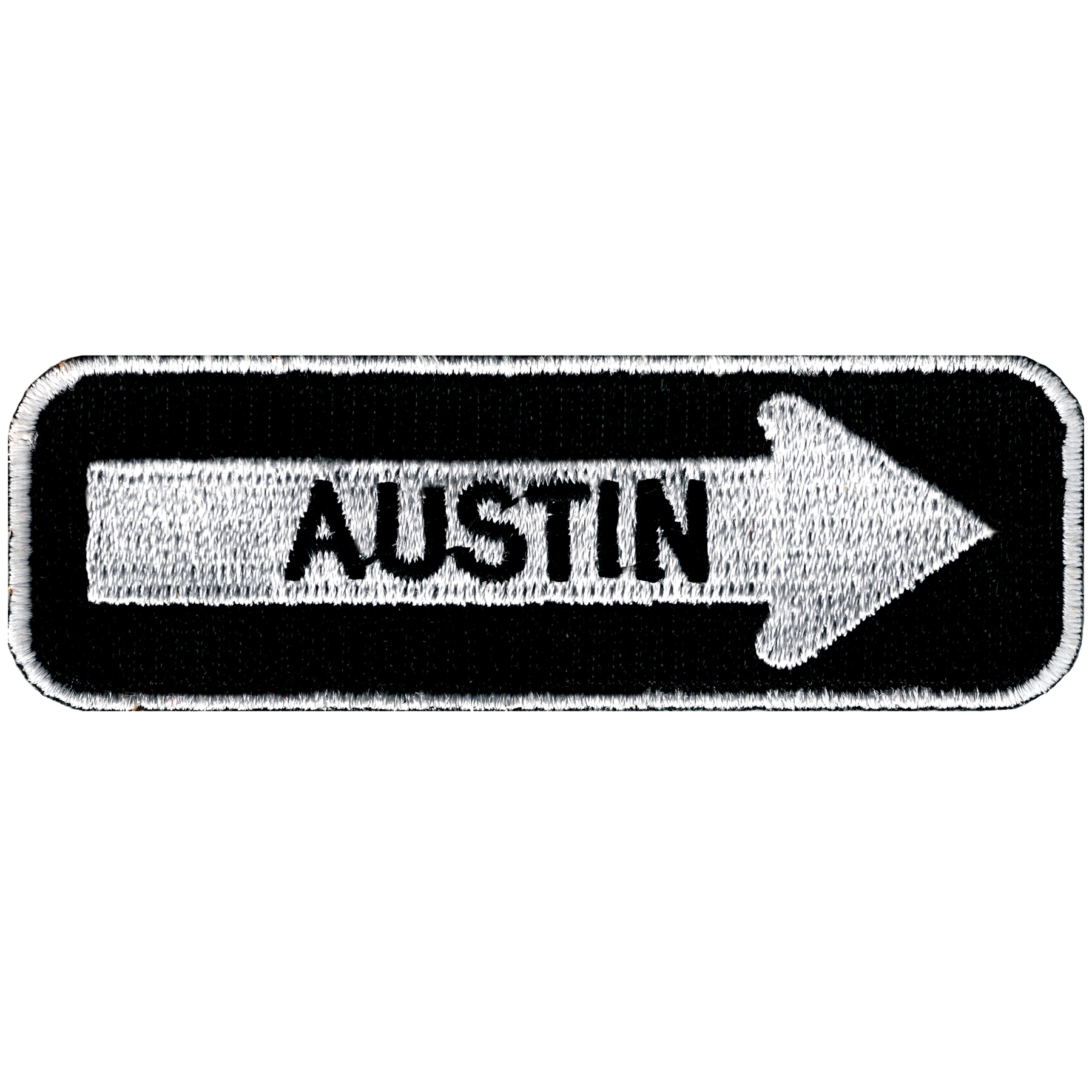 Austin One Way Sign Embroidered Iron-on Patch