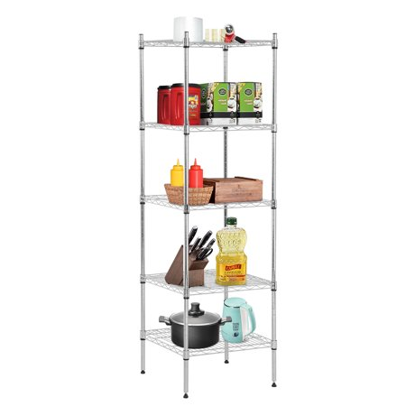 5 Shelf Wire Shelving Unit Metal Nsf Wire Shelf Organizer Storage Shelves Heavy Duty Height Adjustable Utility Leveling Feet Steel Layer Shelf Commercial Grade Rack For Kitchen Bathroom Office,Chrome