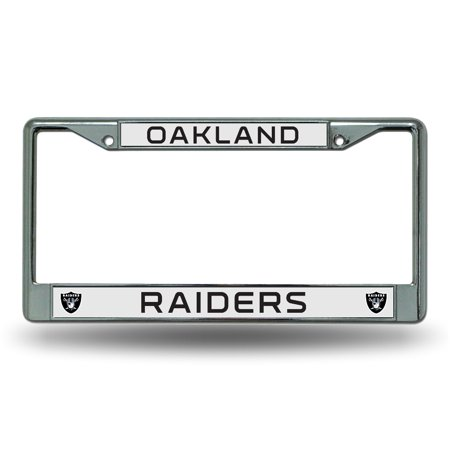 Oakland Raiders Official NFL 12 inch x 6 inch  Chrome License Plate Frame by Rico Industries