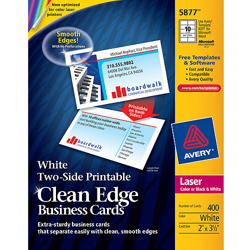 Avery Two-Side Printable Clean Edge Laser Business Cards 5877, 2 x 3 1/2, White, 10/Sheet, 400/Box