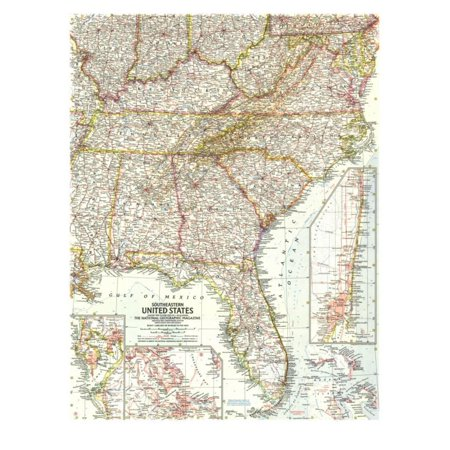 1958 Southeastern United States Map Print Wall Art By National ...