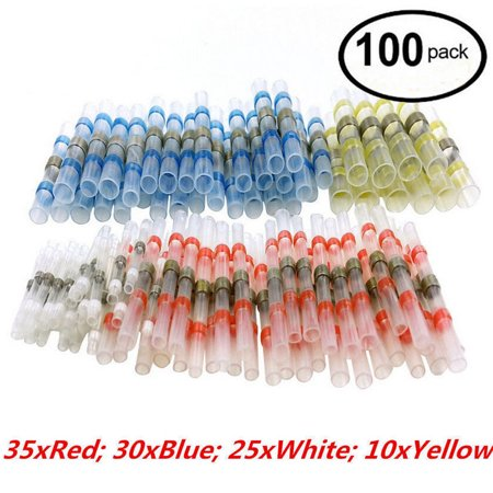 100PCS Solder Sleeve Heat Shrink Butt Waterproof 26-10 AWG Wire Splice