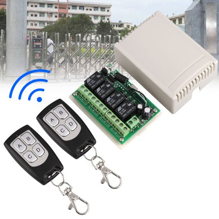 Long Gun Remote Switch - Wireless RF Switch Long Range DC 12V 4CH Channel Wireless Remote Control Switch, DC12V Relay Receiver Module, Transmitter Toggle Switch RF Relay (2 Transmitter & 1 Receiver)