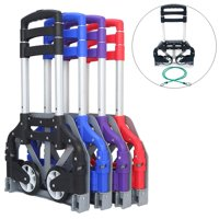 UBesGoo Portable Aluminum Folding Hand Truck Dolly Heavy-Duty Luggage Trolley Cart w/Telescoping Handle and PU Rubber Wheels for Home, Auto, Office,Travel Use (Multi-color)