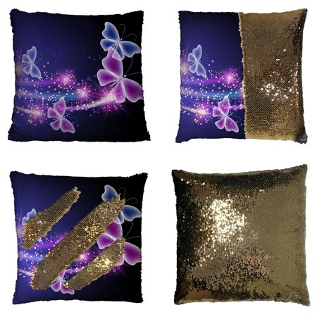 GCKG Pink Purple Butterfly Shining Light Under Blue Sky Reversible Mermaid Sequin Pillow Case Home Decor Cushion Cover 16x16 inches