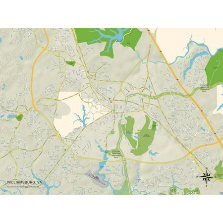 Political Map of Williamsburg, VA Print Wall Art