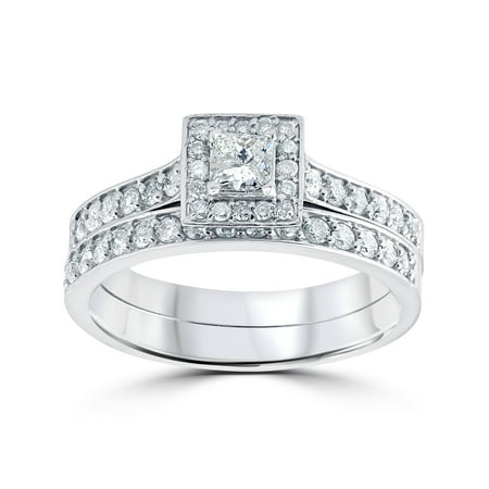3/4 cttw Princess Cut Diamond Halo Engagement Wedding Ring Set 10K White