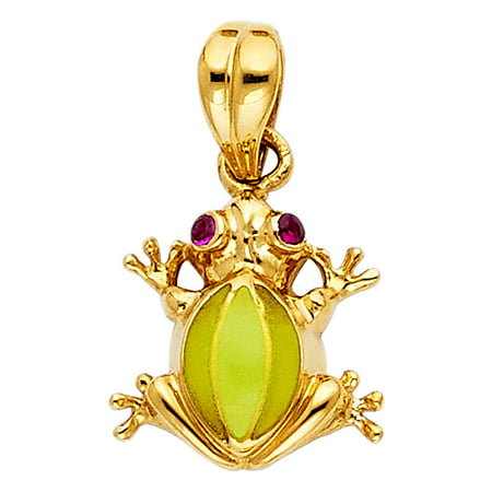 Jewels By Lux 14K Yellow Gold Frog Pendant 13mm X 13mm