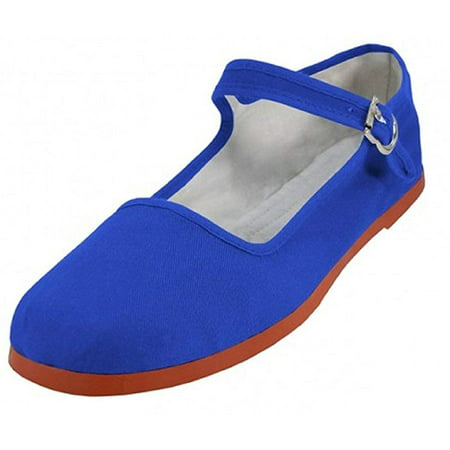 Shoes 18 Womens Cotton China Doll Mary Jane Shoes Ballerina Ballet Flats 114 Royal
