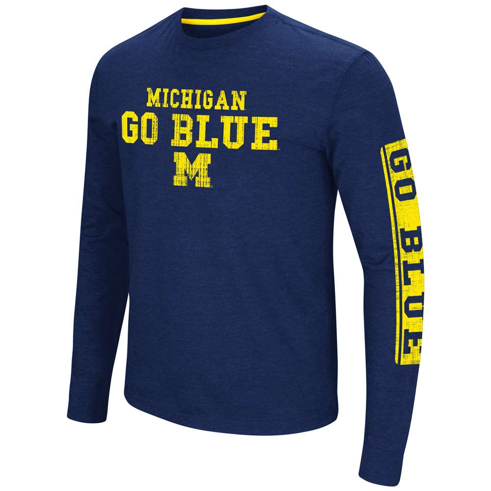 Michigan Wolverines Colosseum Sky Box L/S T-Shirt - Straight Print