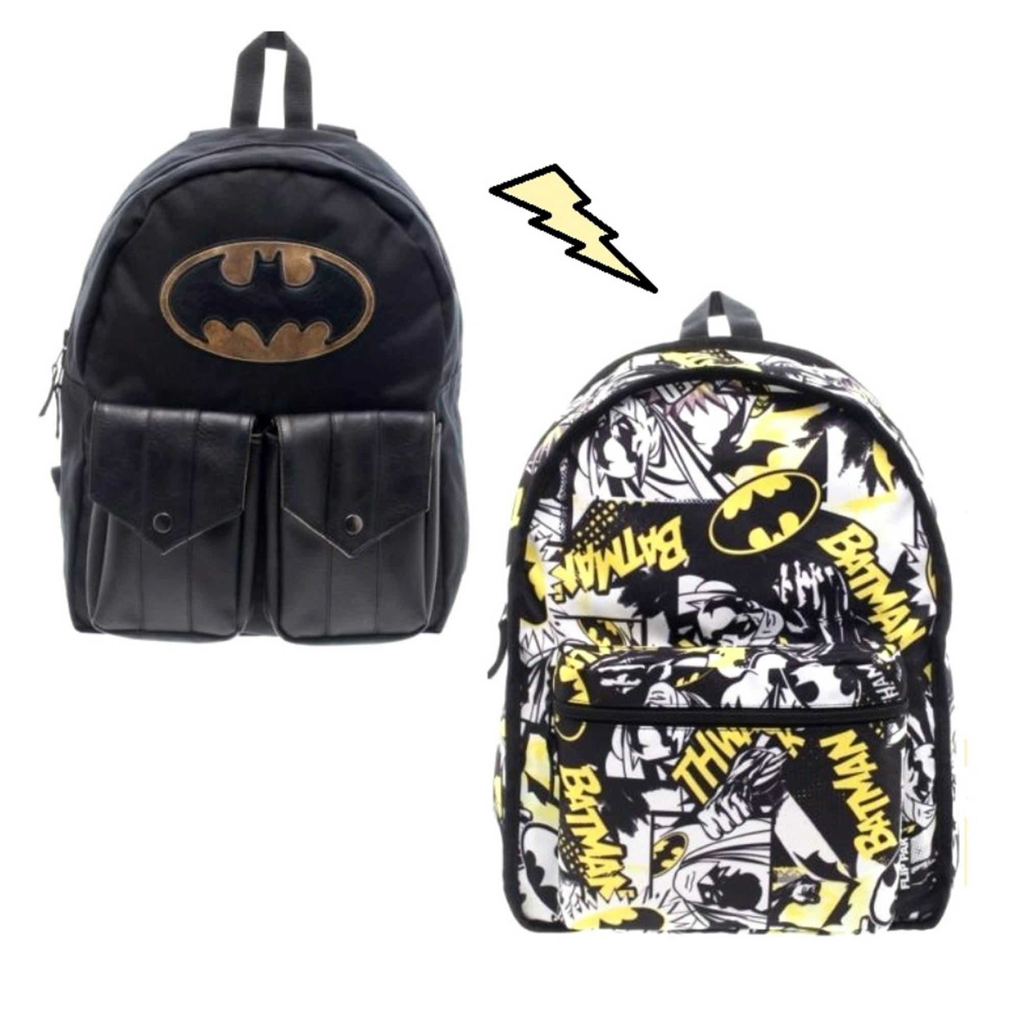 Dc Comics Batman Licensed Reversible Backpack With Pockets Black School Book Bag