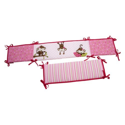 Little Bedding by NoJo 3 Little Monkey Girl Crib Bumper