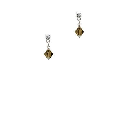 Brown - 6mm Crystal Bicone Clear Crystal Post Earrings ()