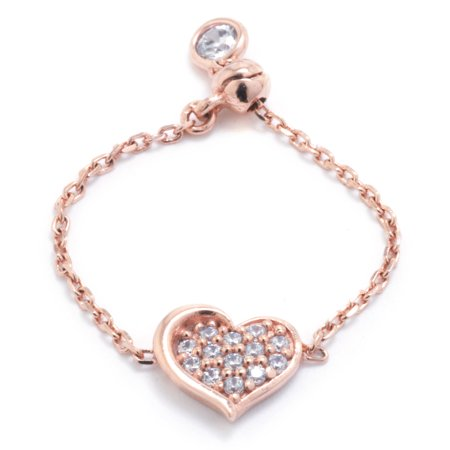 Marisol & Poppy 14kt Rose Gold Plate Over Fine Sterling Silver Pave Cubic Zirconia Heart Adjustable Ring
