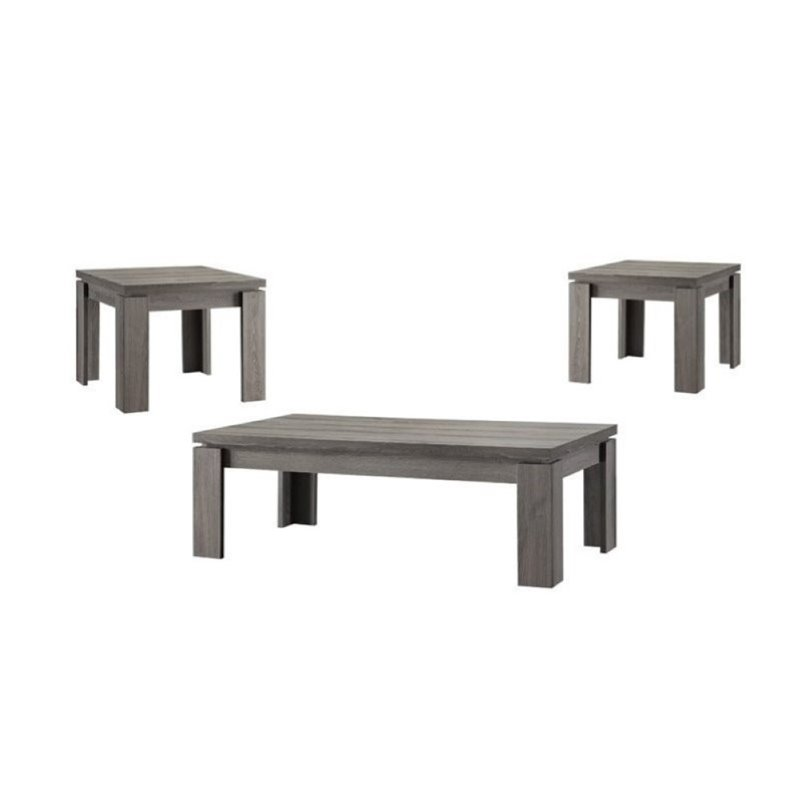 Bowery Hill 3 Piece Weathered Coffee Table Set In Dark