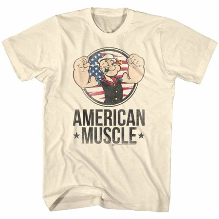 Popeye Comics Muscle Adult Short Sleeve T Shirt (Popeye Costume Shirt)