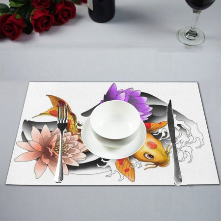 - MYPOP Koi Carp Tattoo Kitchen Table Mat Placemats for Dining Table 12x18 inches