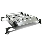 "50"" x 38"" Aluminum Roof Rack Top Cargo Carrier Basket+Cross Bar (Silver)"