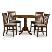 East West Furniture DLNO5-MAH-C 5PC Kitchen Round Table with 2 Drop Leaves and 4 Slatted-back Chairs with Microfiber Upholstered Seat