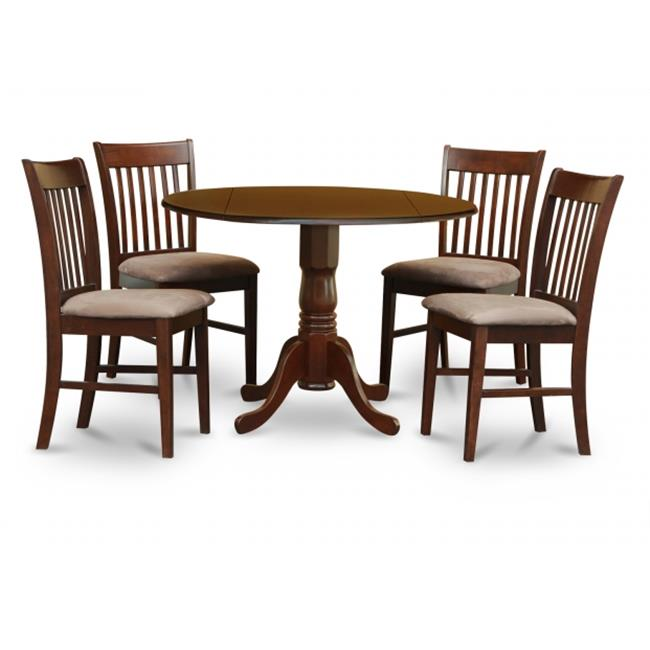 East West Furniture DLNO5-MAH-C 5PC Kitchen Round Table with 2 Drop Leaves and 4 Slatted-back Chairs with Microfiber