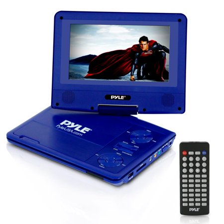 PYLE PDV71BL - 7'' Portable CD/DVD Player, Built-in Rechargeable Battery, USB/SD Card Memory Readers (Blue) (Pyle Dvd Cd Player)