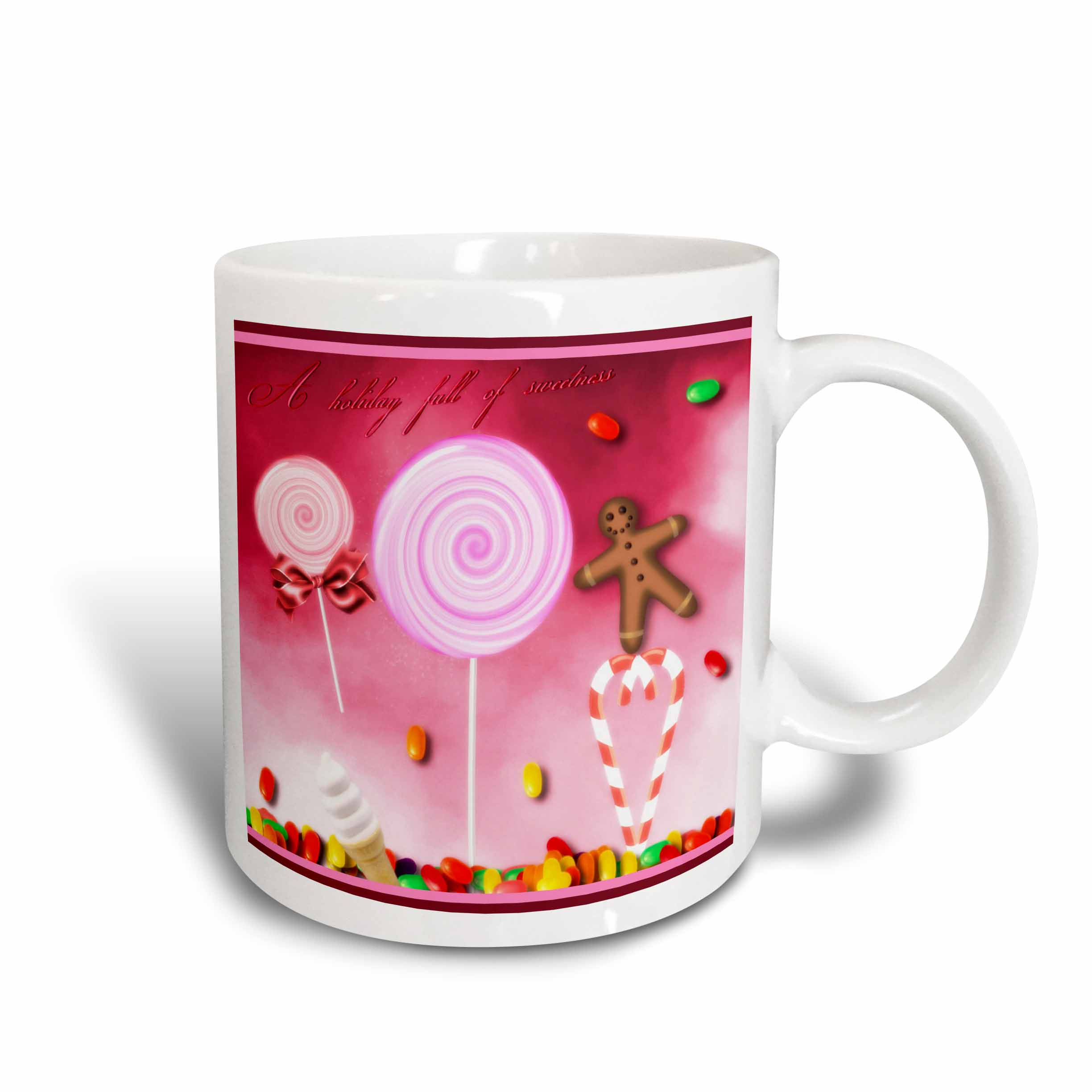 3dRose Holiday Sweets, Candycane, Gingerbread Man, And Lollipops, Ceramic Mug, 15-ounce