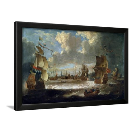 17th Century Framed Print - Ships in a Lagoon, 17th or Early 18th Century Framed Print Wall Art By Abraham Storck