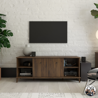 """Queer Eye Farnsworth Mid-Century TV Stand for TVs up to 55"""", Walnut"""