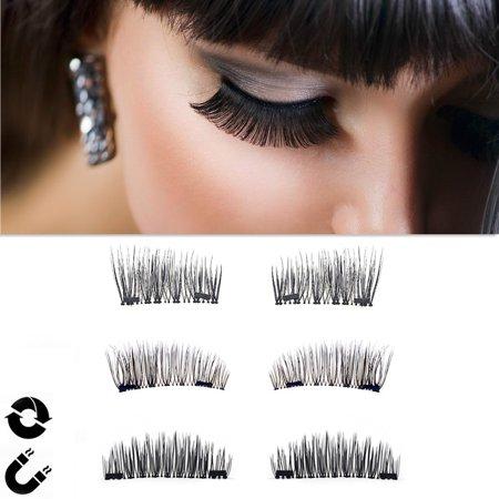 9c1b84c66b3 Magnetic False Eyelashes Full Strip No Glue Natural Length Magnet Eye Lashes  Set 3D Reusable Fake Lashes Extension,Black - Walmart.com