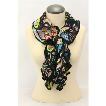 Memories MSF388-9-07 Bold Ruffled Scarf with Abstract Floral Design & Bound Contrast Edge, -