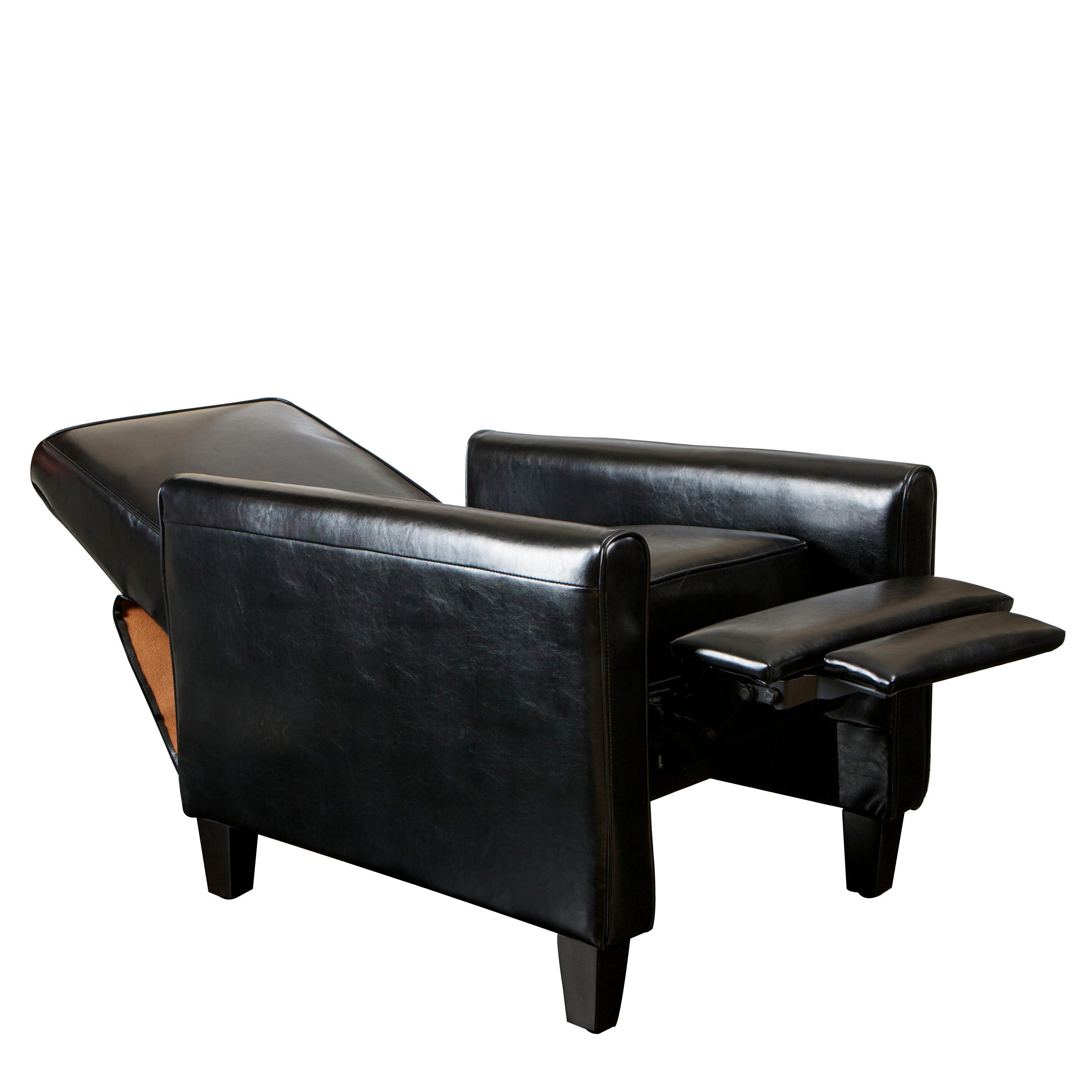Paris Black Bonded Leather Recliner Club Chair