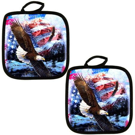 4th of July American Flag Bald Eagle Splatter All Over Pot Holder (Set of 2)