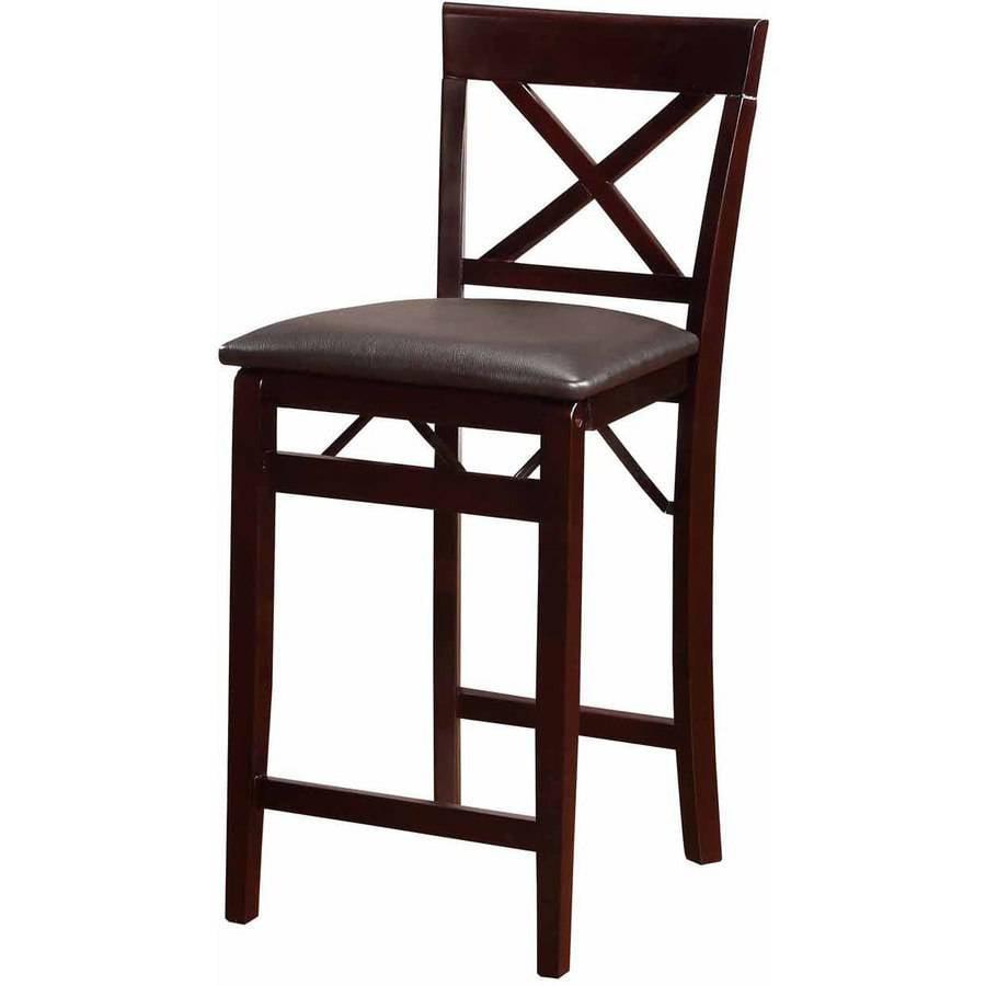 Linon Triena X Back Folding Counter Stool Espresso 24 Inch Seat